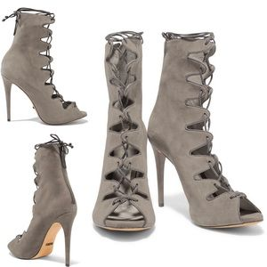 Schutz Leather Trimmed Suede Lace-Up Heels…